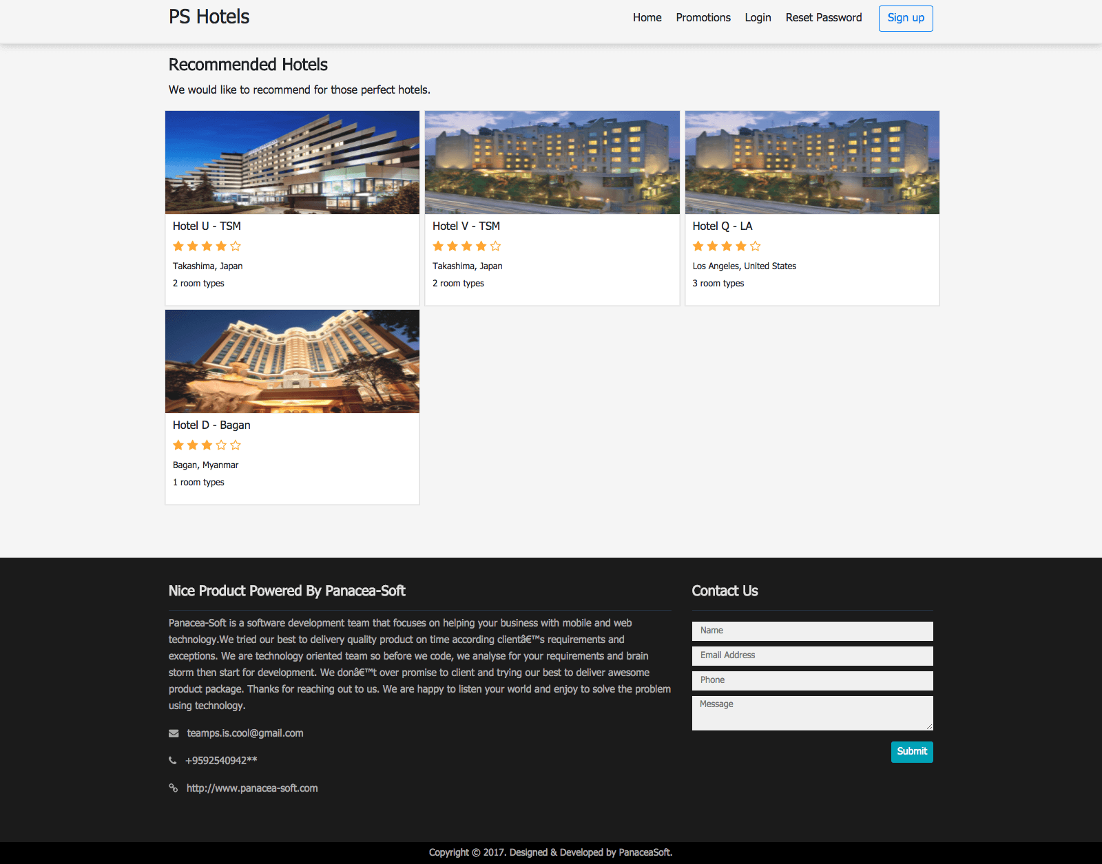 Multi Hotel Management System Recommended Hotel Page