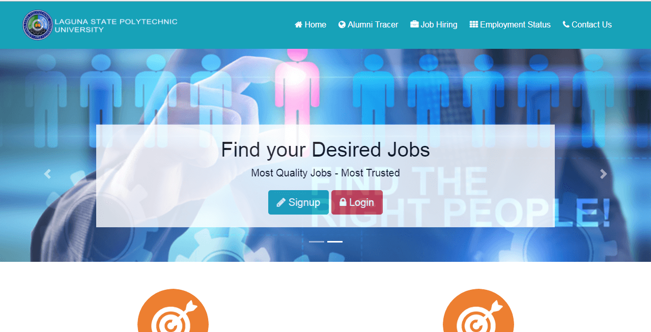 Online Alumni Tracer and Job Portal System Frontend Page
