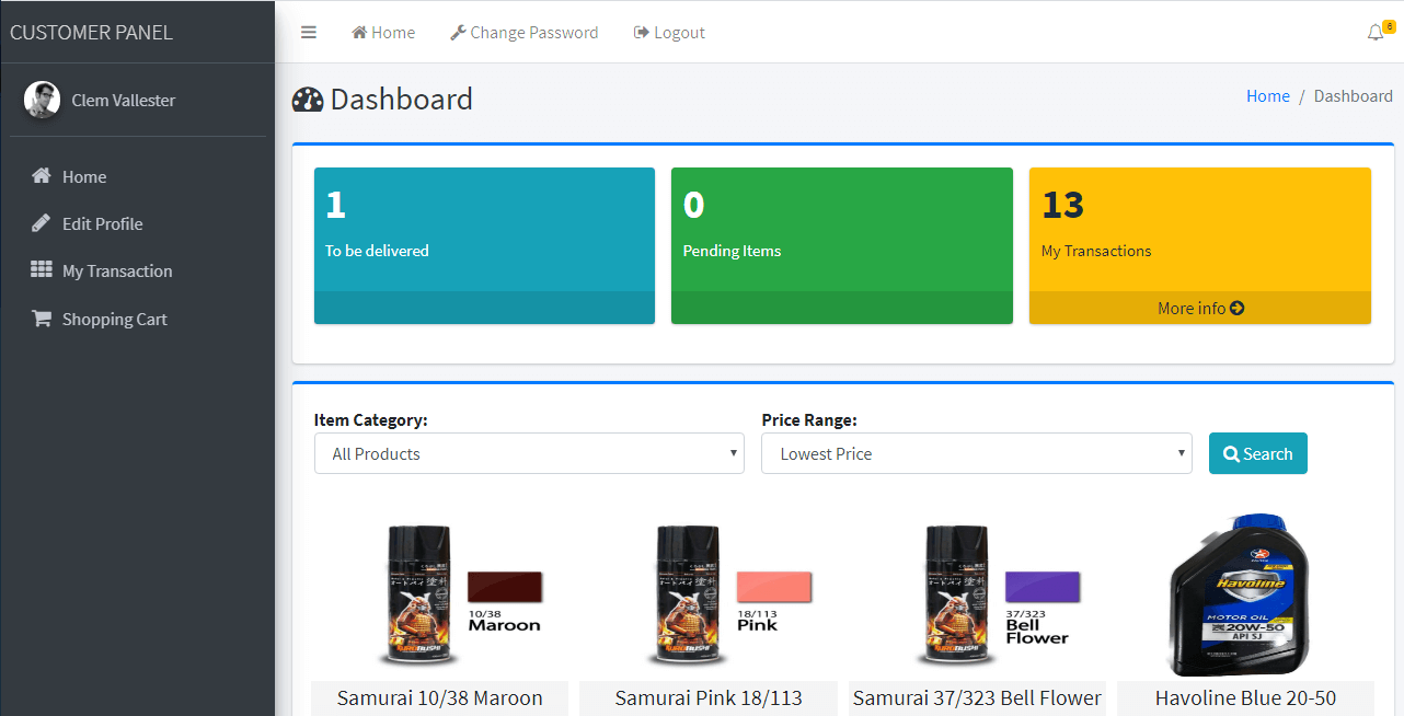 Online Shopping and Inventory System Customer Dashboard