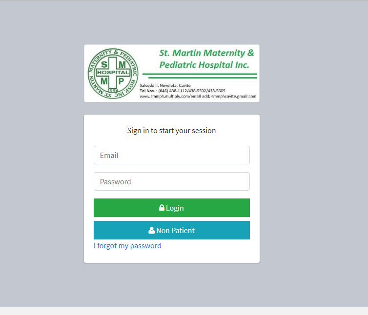 Patient Information System with BMI and Diet Counseling Login Form
