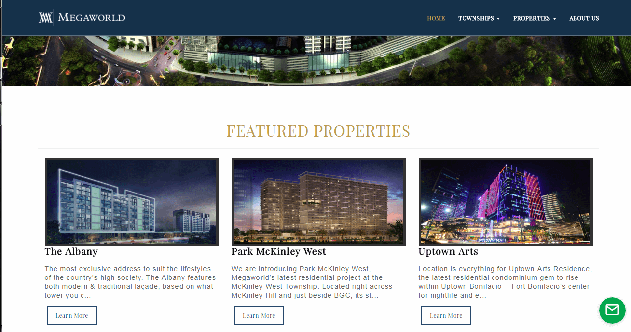 Property Management with Content management System Featured Properties Page