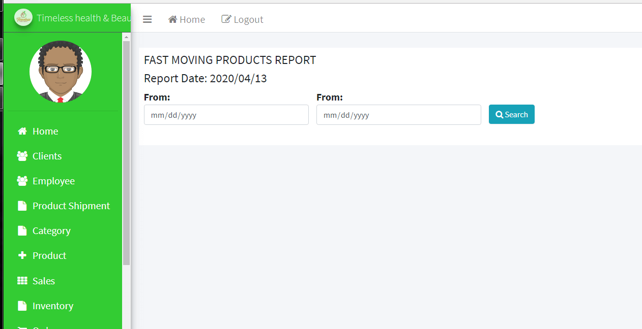 Sales and Inventory with DSS Fast Moving Product Report