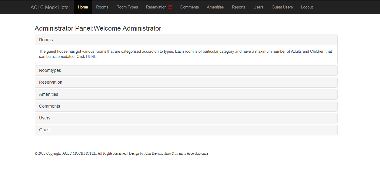 Admin Panel of Hotel Reservation System