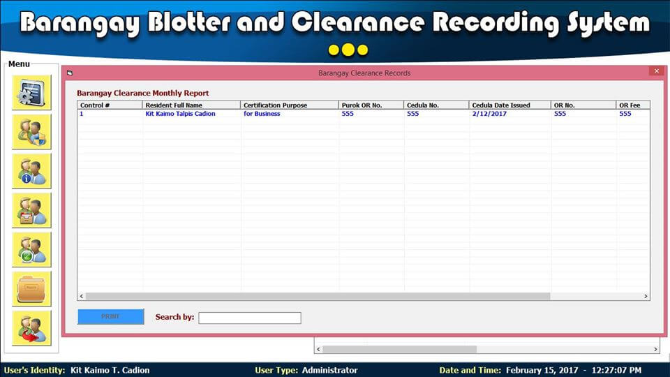 Barangay Blotter and Clearance System Barangay Clearance Monthly Report