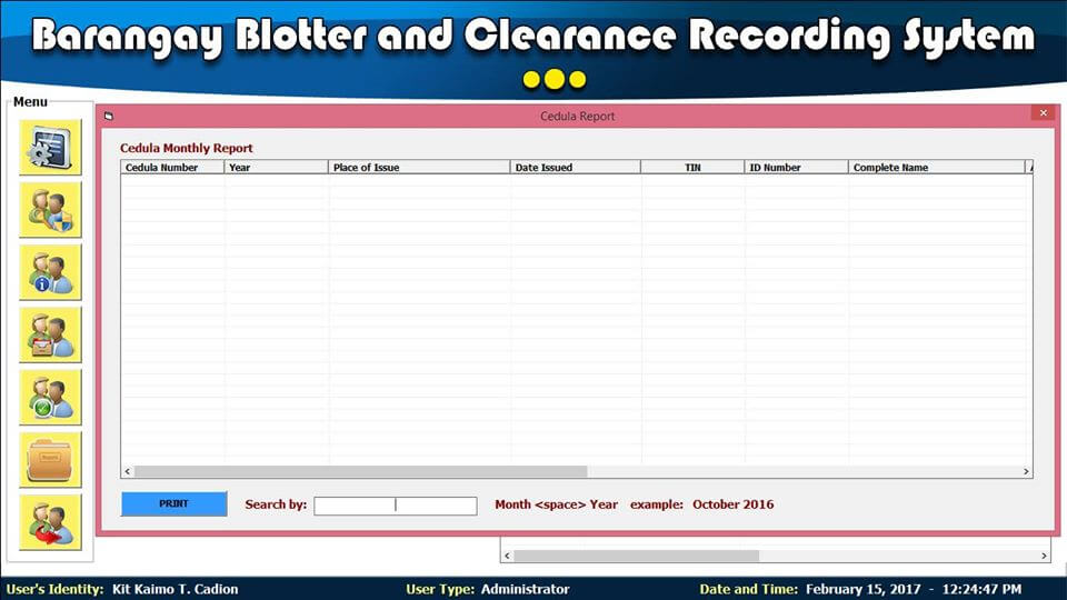 Barangay Blotter and Clearance System Cedula Report