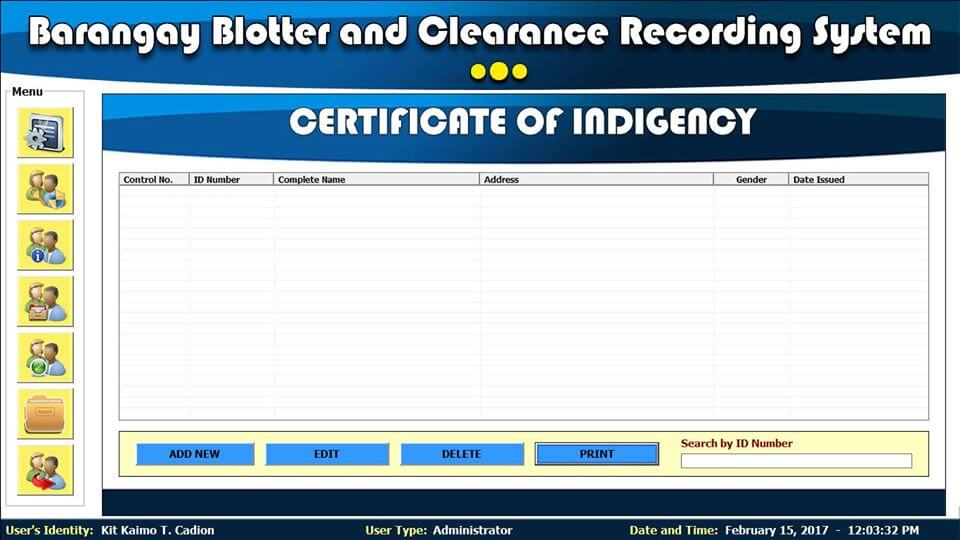 Barangay Blotter and Clearance System Certificate of Indigency
