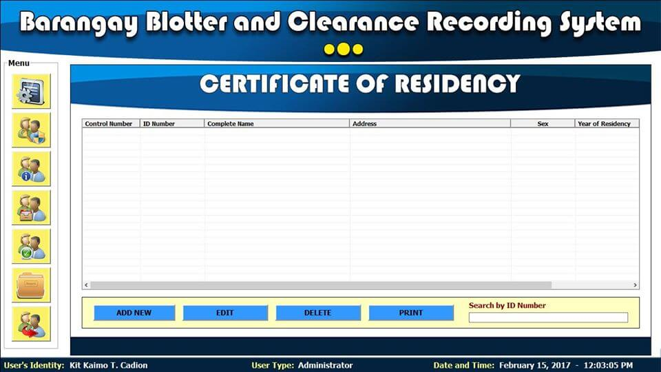 Barangay Blotter and Clearance System Certificate of Residency