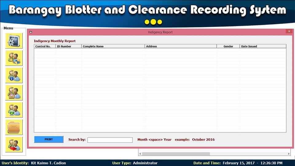 Barangay Blotter and Clearance System Indigency Monthly Report