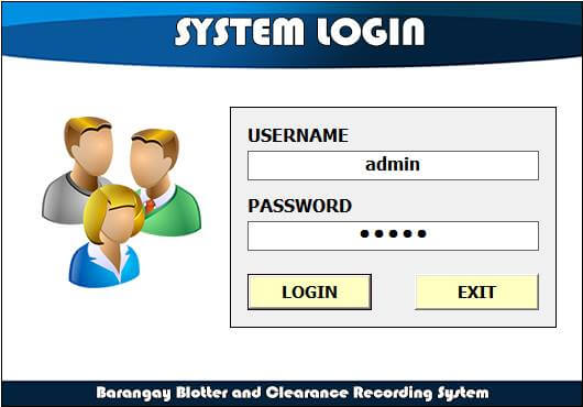 Barangay Blotter and Clearance System Login Form