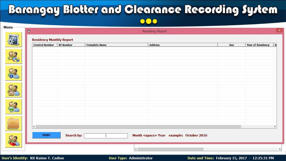Barangay Blotter and Clearance System Residency Report