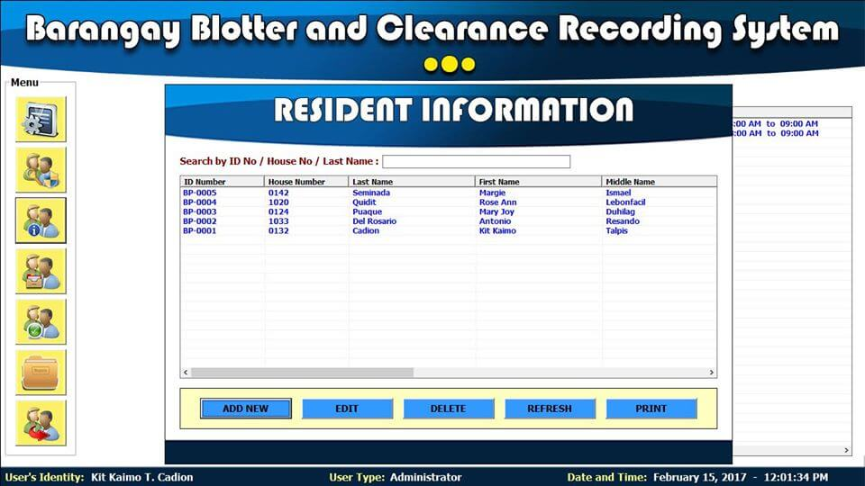 Barangay Blotter and Clearance System Resident Information