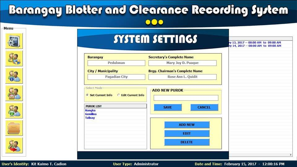 Barangay Blotter and Clearance System System Settings