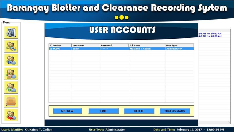 Barangay Blotter and Clearance System User Accounts