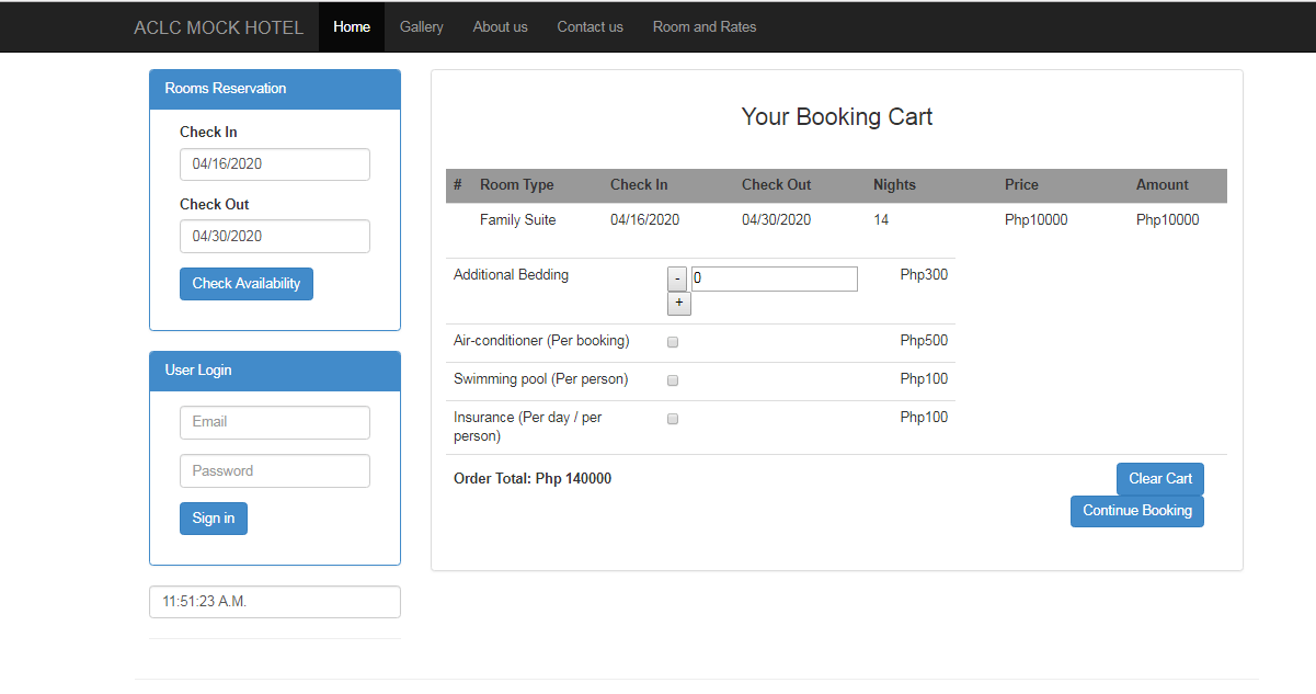 Booking Cart of Hotel Reservation System
