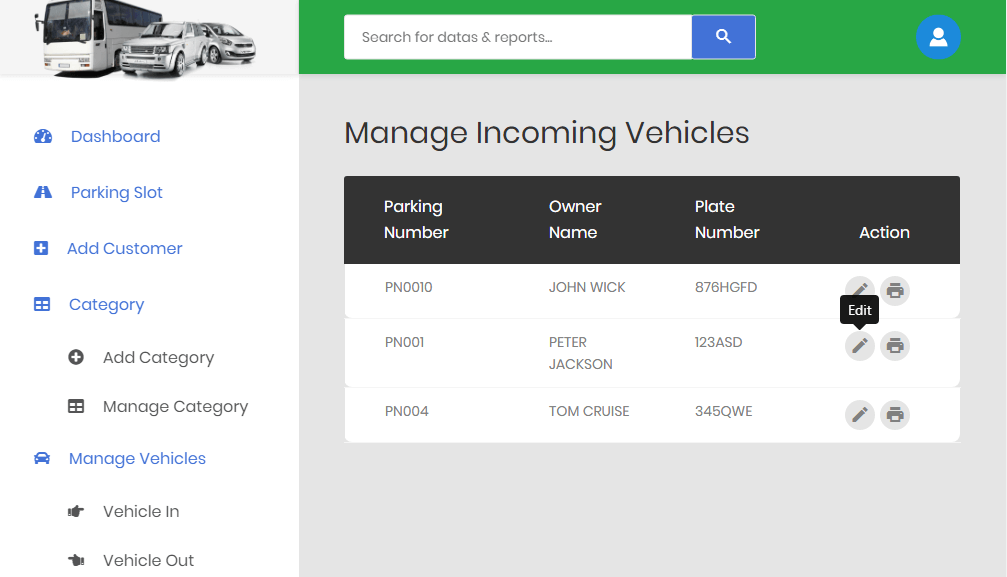 Car Parking System Incoming Vehicle Module