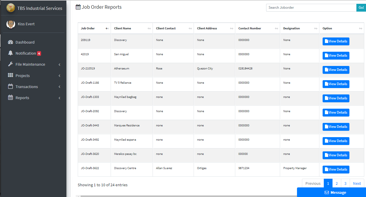 Client Monitoring System Job Order Reports