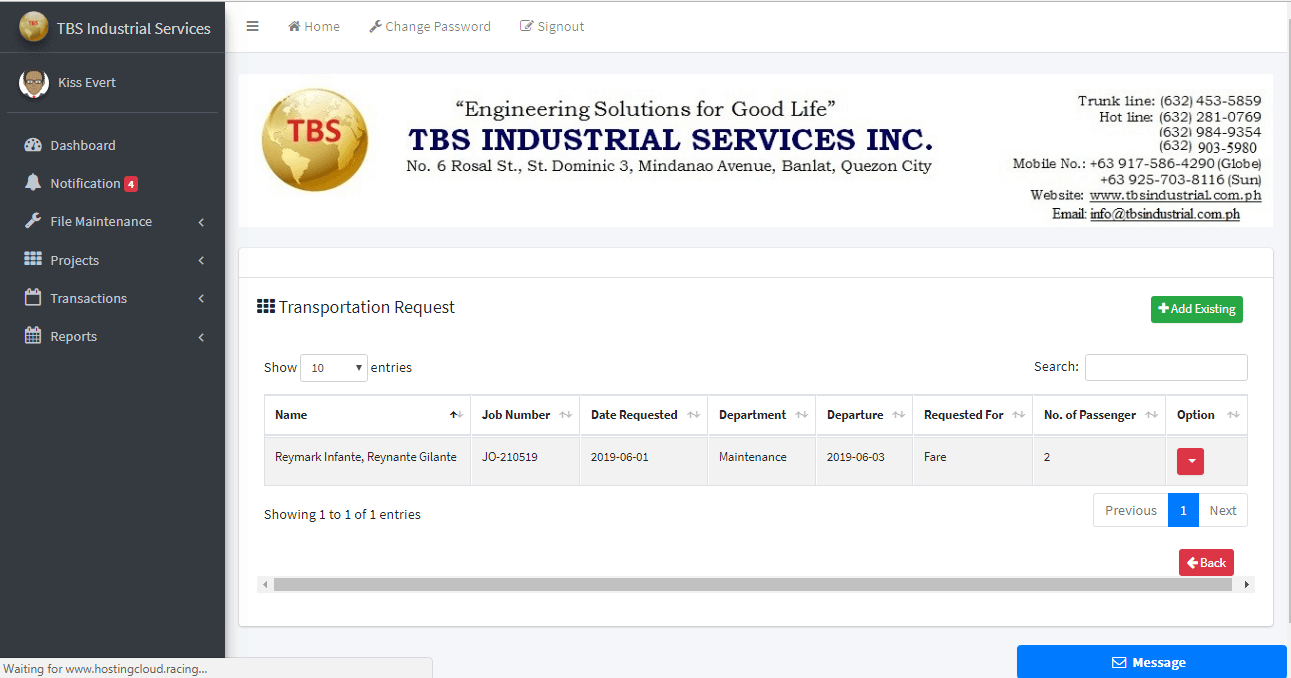Client Monitoring System Transportation Request