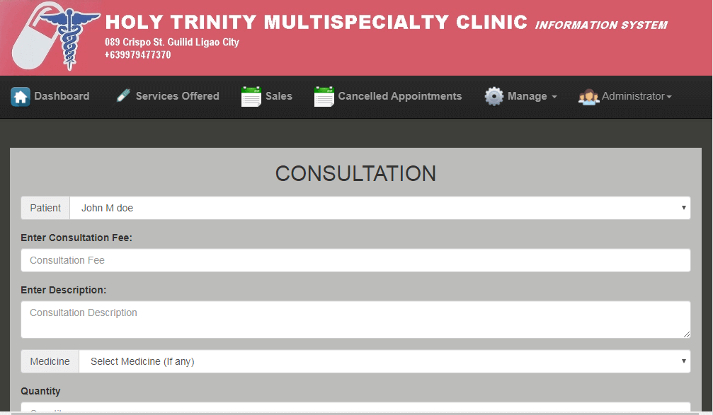Doctor Appointment System Consultation Form