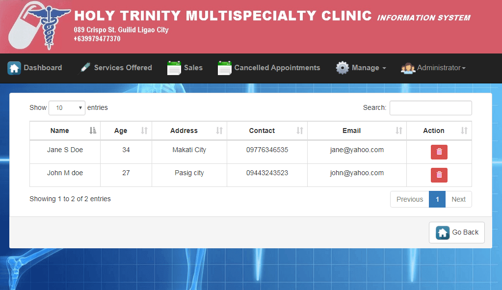 Doctor Appointment System Lists of Customers