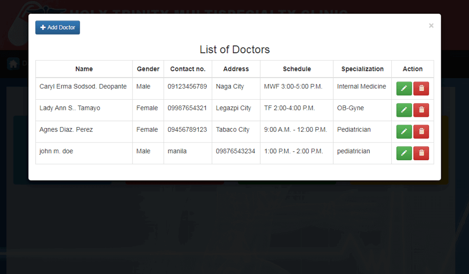 Doctor Appointment System Lists of Doctors