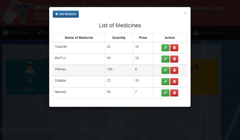 Doctor Appointment System Lists of Medicines