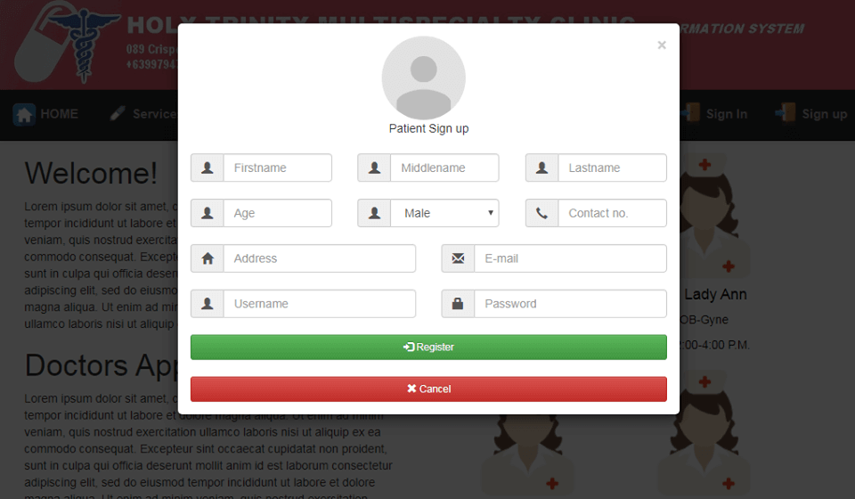 Doctor Appointment System Patient Signup Form