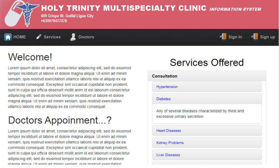 Doctor Appointment System Services Offered Page