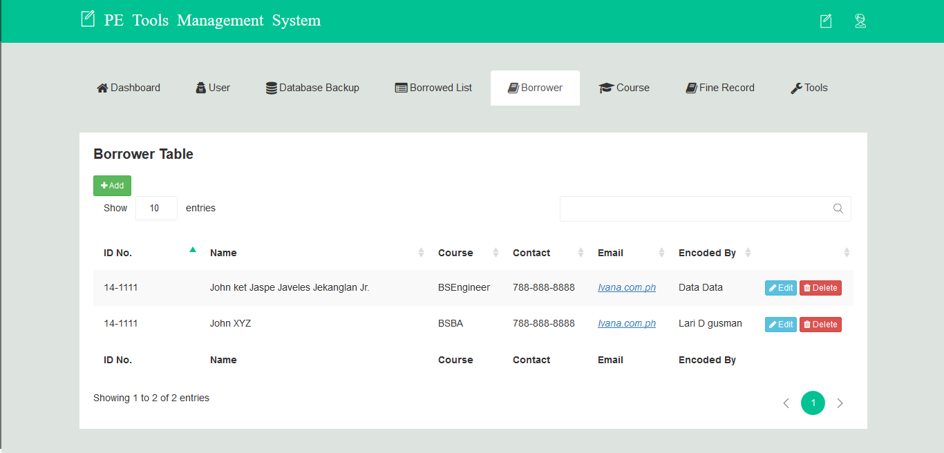 PE Tools Management System Borrower Information