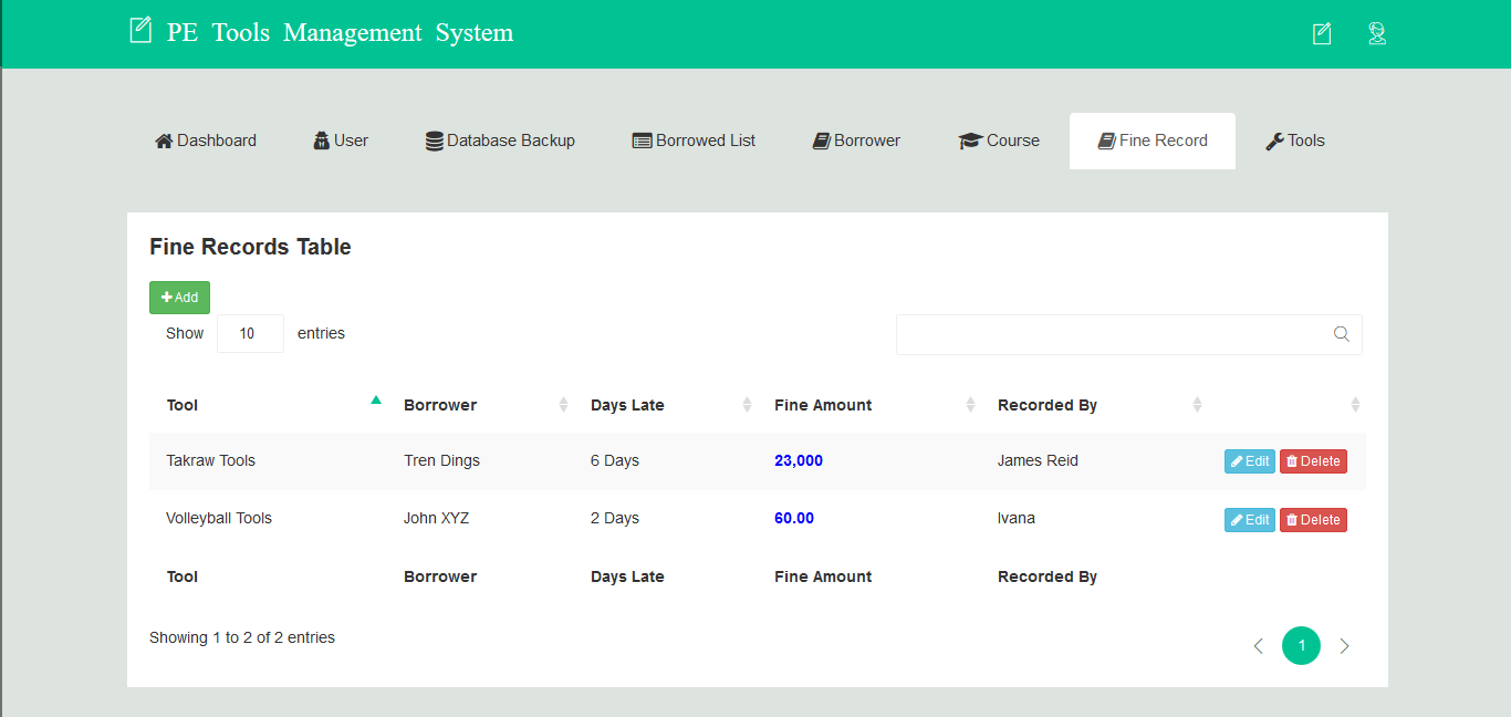 PE Tools Management System Fine Record