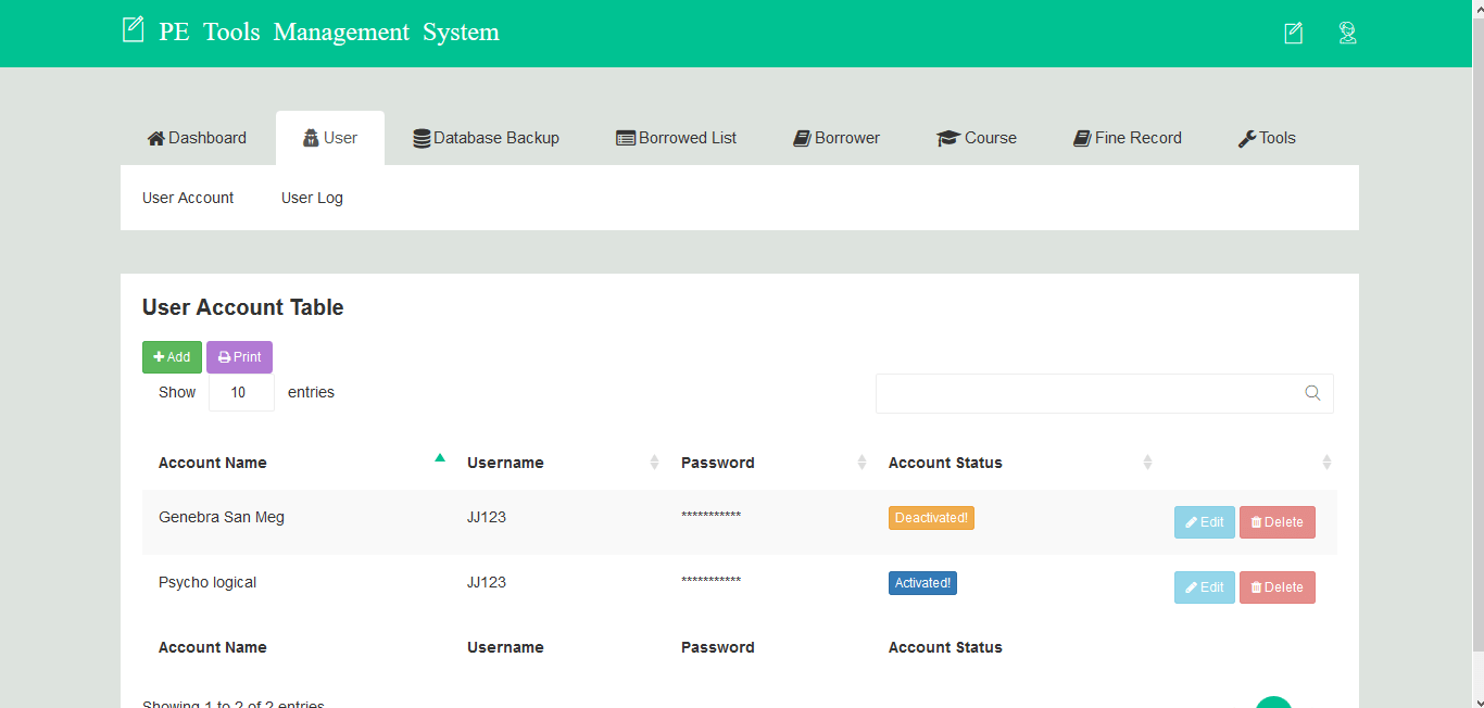 PE Tools Management System User Account