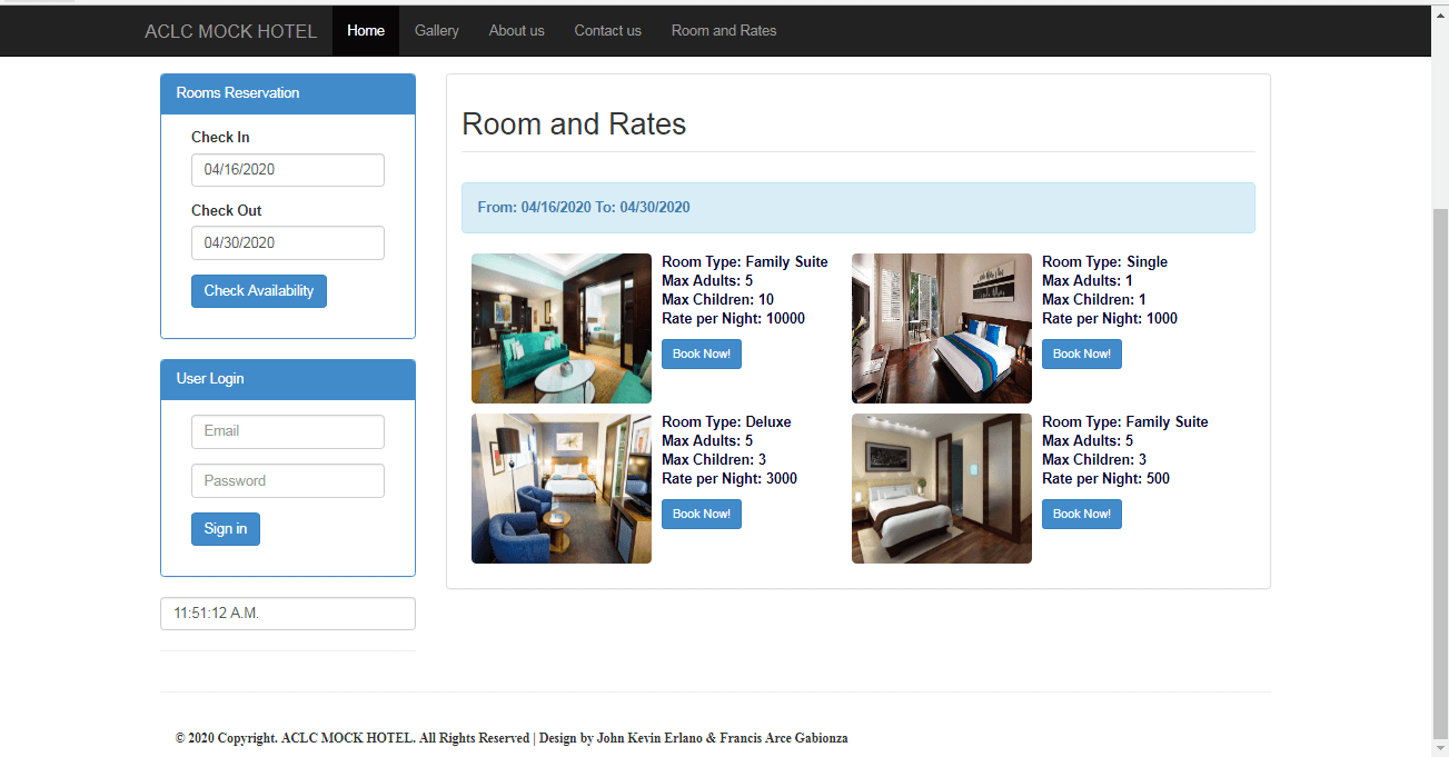 Room Rates and Information of Hotel Reservation System