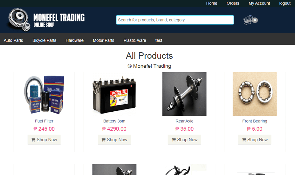 System Module of Online Shop Application Product Catalog Page 2