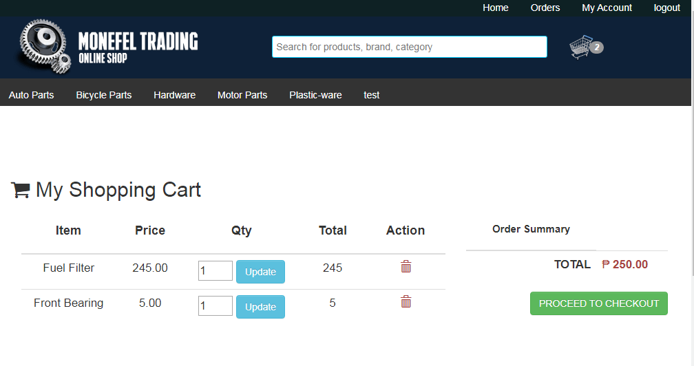 System Module of Online Shop Application Shopping Cart Page