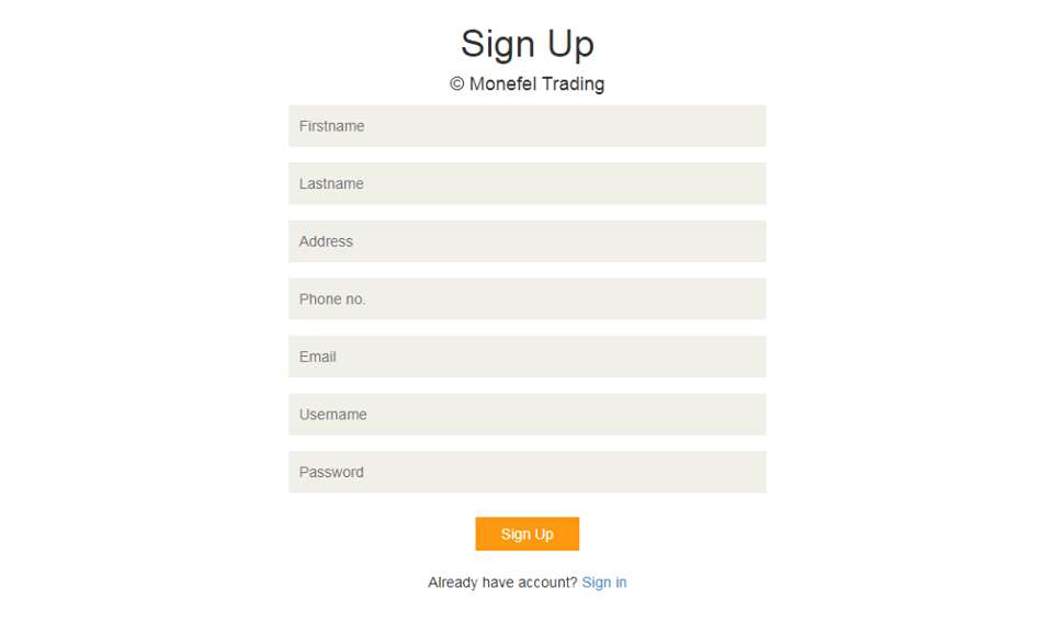 System Module of Online Shop Application Sign-up Page