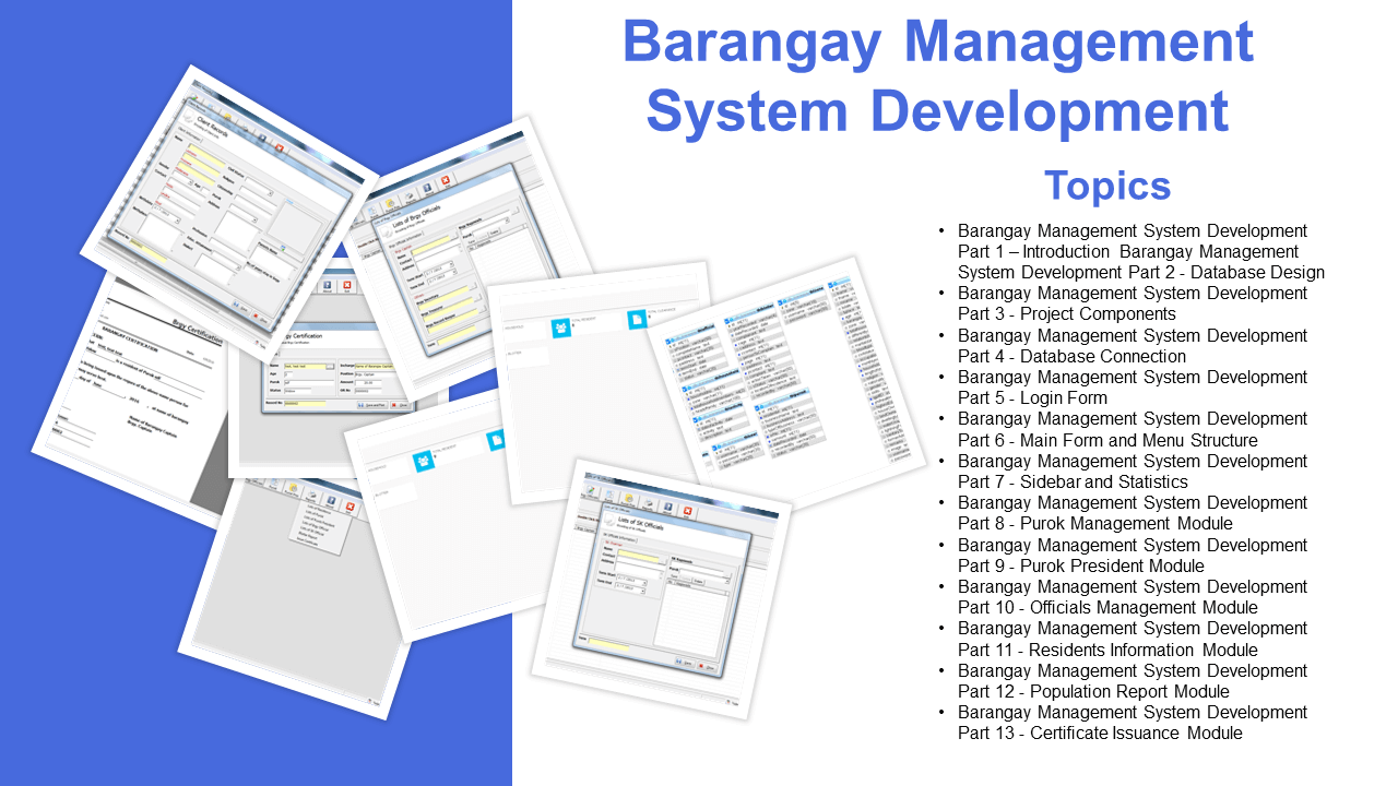 Barangay Management System Development Part 1 – Introduction
