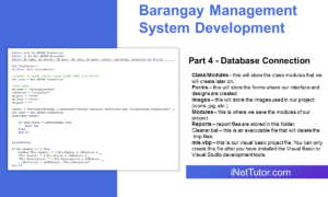 Barangay Management System Development Part 4 - Database Connection
