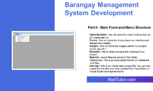 Barangay Management System Development Part 6 - Main Form and Menu Structure