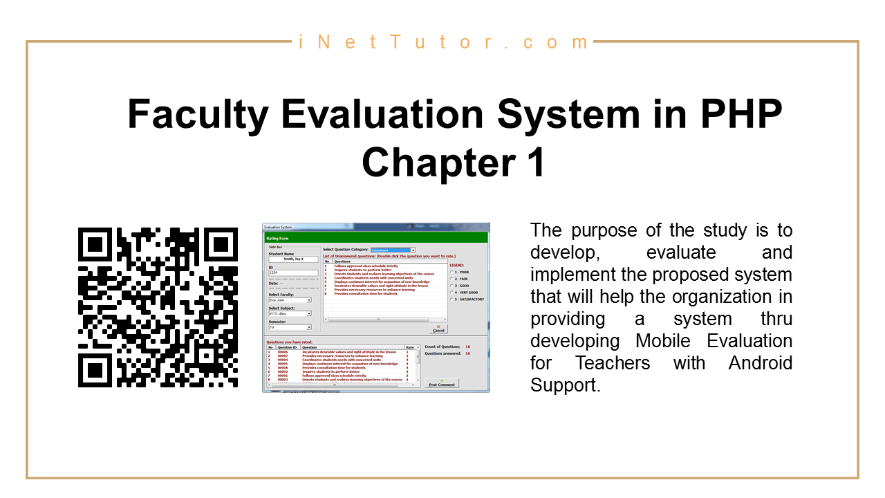 Faculty Evaluation System in PHP Chapter 1