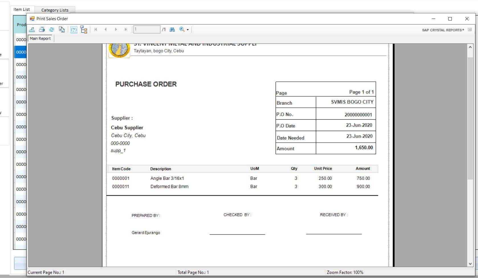 Sales and Inventory System in VB.Net Purchase Order Report