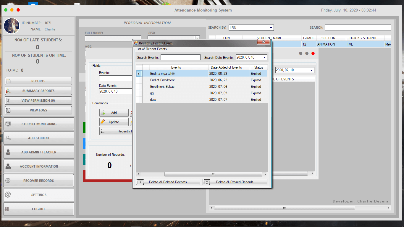Attendance Monitoring System in VB.Net - Recently Events Form