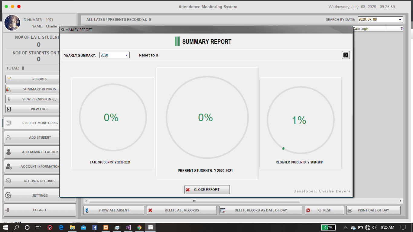 Attendance Monitoring System in VB.Net - Summary Report