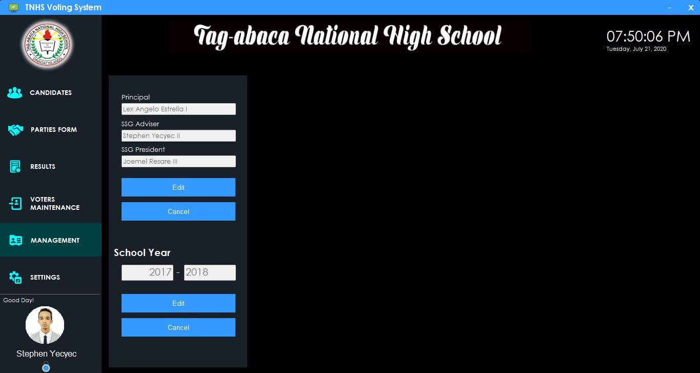 Automated Voting System for High School in C# and MySQL - Management Module