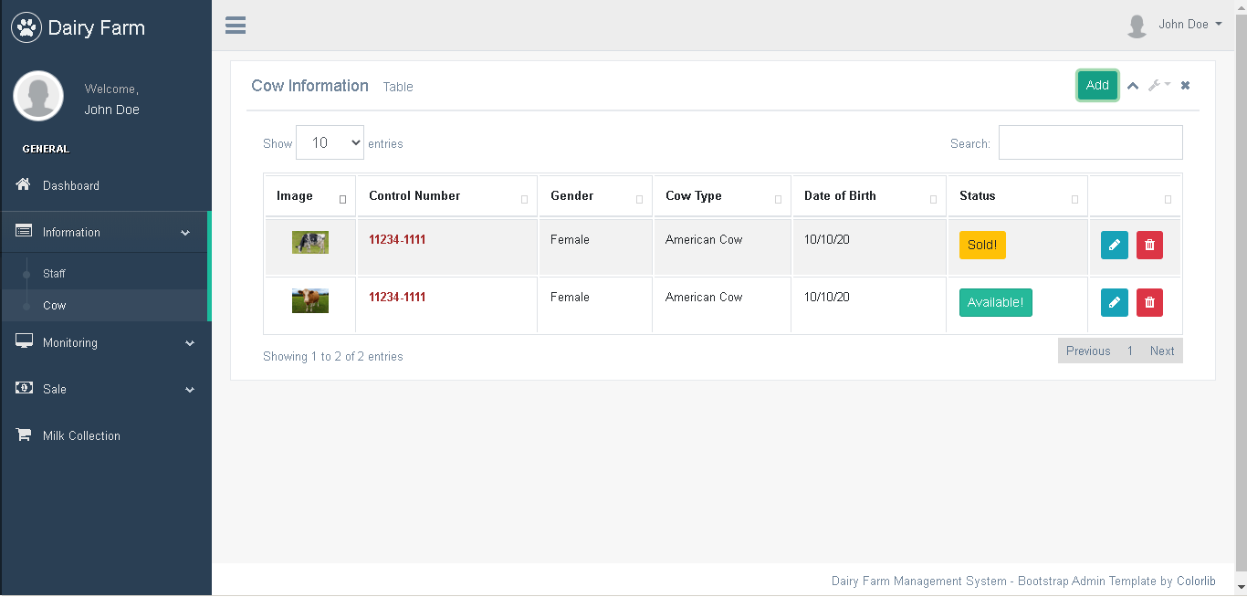 Dairy Farm Management System in PHP and Bootstrap - Cow Information