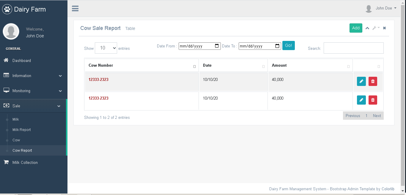 Dairy Farm Management System in PHP and Bootstrap - Cow Sale Report