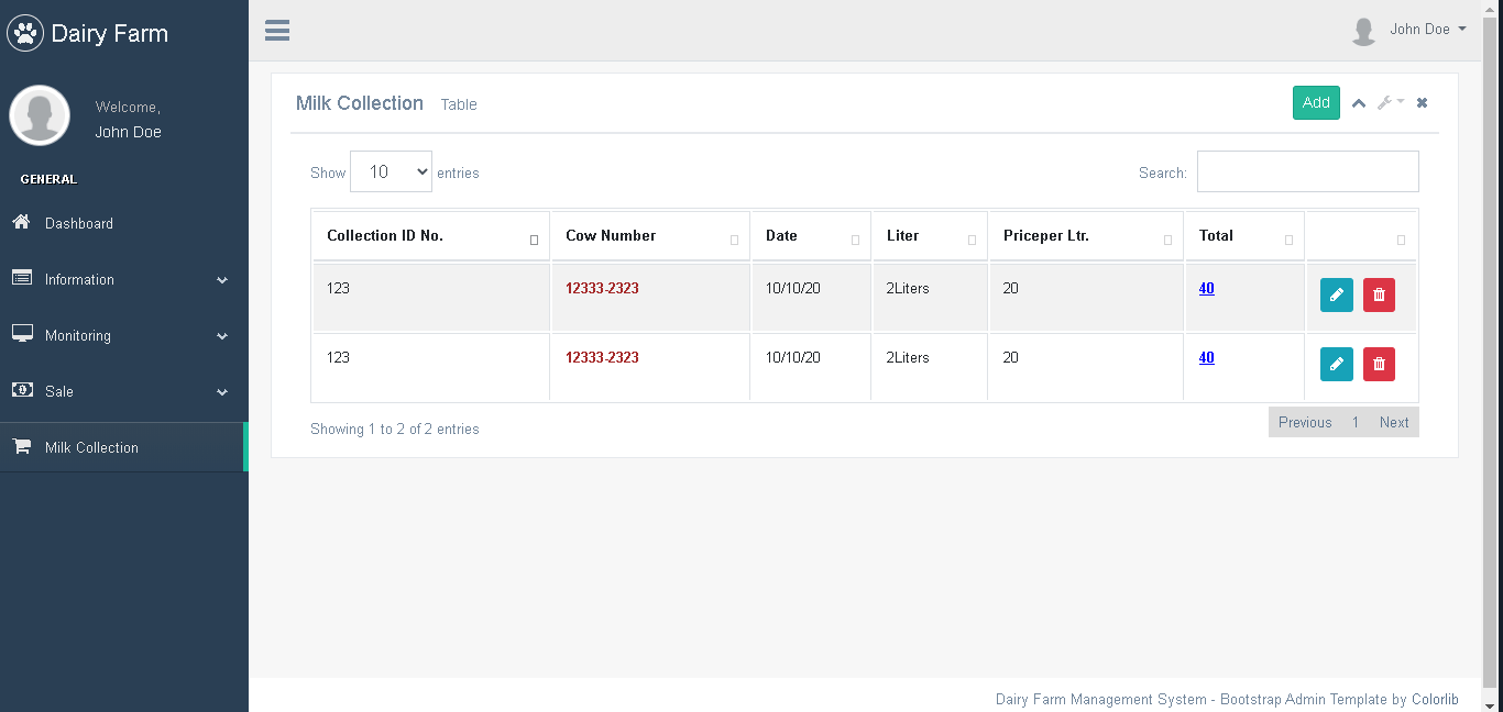 Dairy Farm Management System in PHP and Bootstrap - Milk Collection