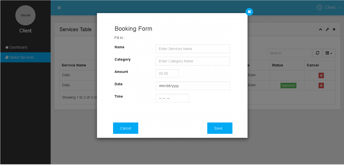 Services Booking and Appointment System Client Select Services Booking Form