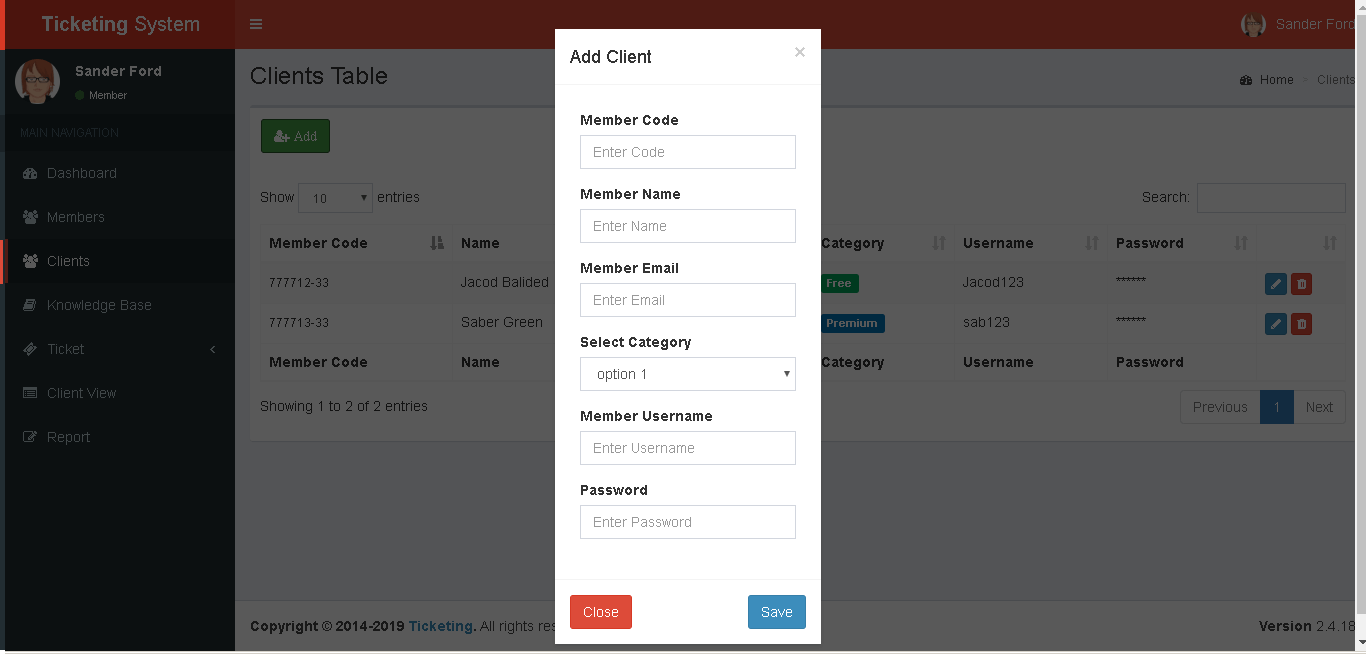 Support Ticketing System Clients Add