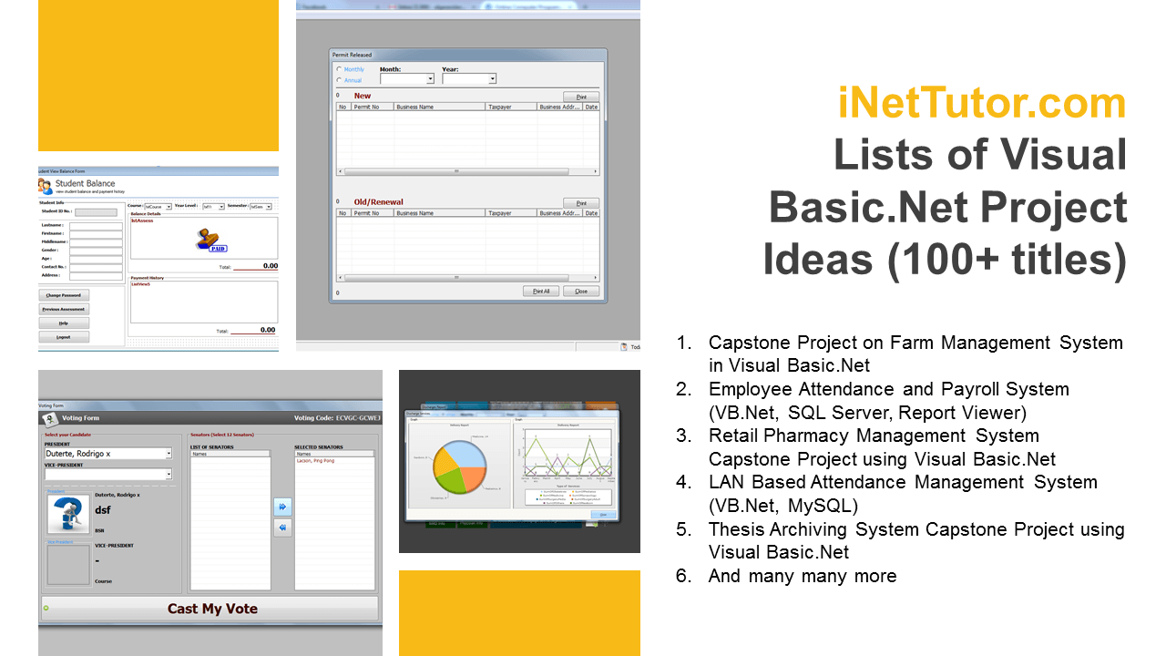 Updated Lists of Visual Basic.Net Project Ideas