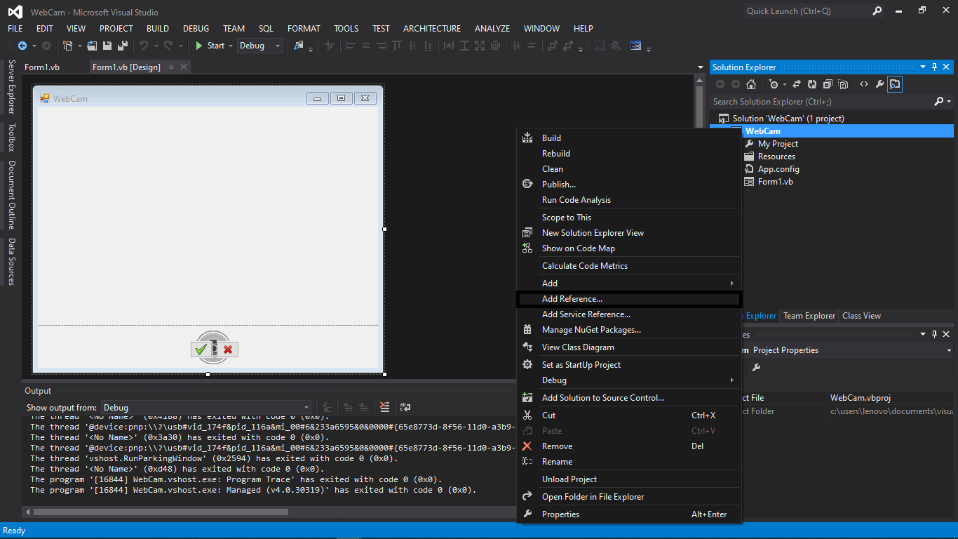 Webcam Capture in VB.NET Source code and Tutorial - Step 5