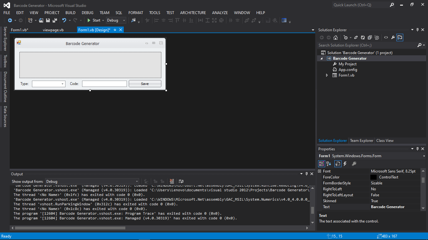 Barcode Generator in VB.NET Tutorial and Source code - Form Design